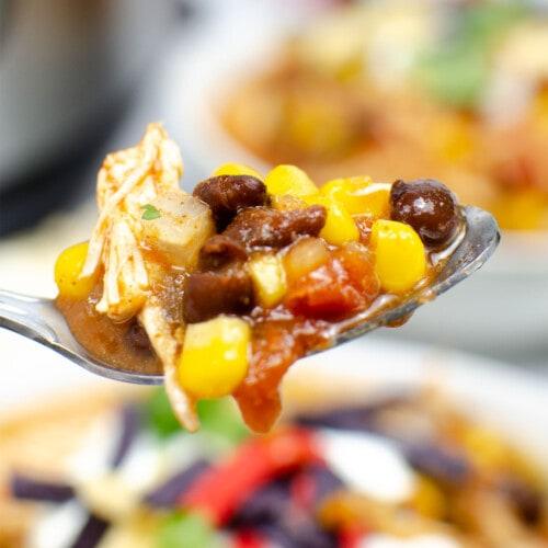 taco soup on a spoon