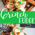 photo collage of easy grinch holiday fudge