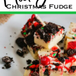 holiday fudge recipe with text which reads mickey christmas fudge