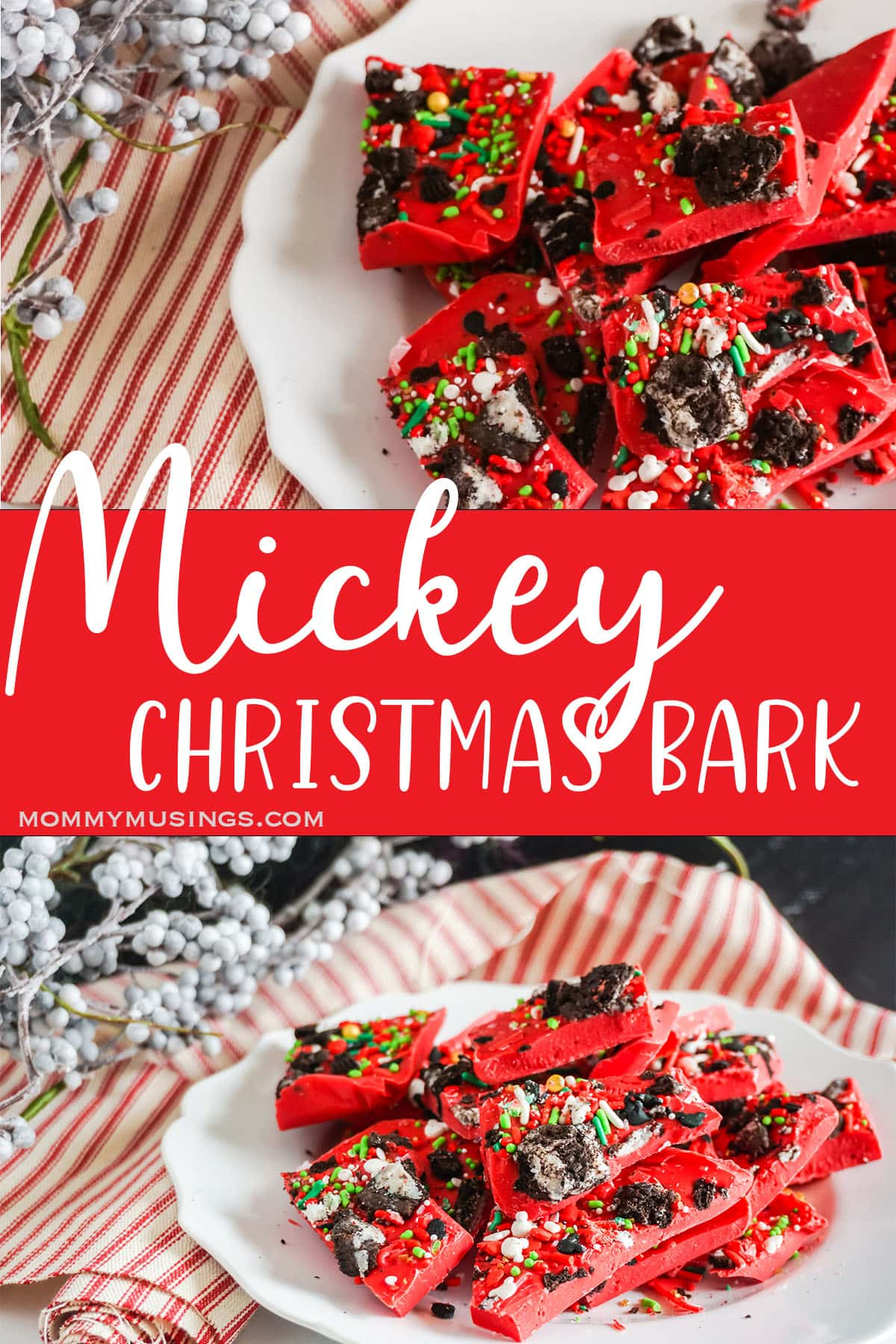 photo collage of mickey mouse bark for christmas with text which reads mickey christmas bark
