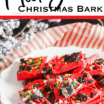 easy recipe for mickey mouse bark with text which reads Mickey Christmas bark