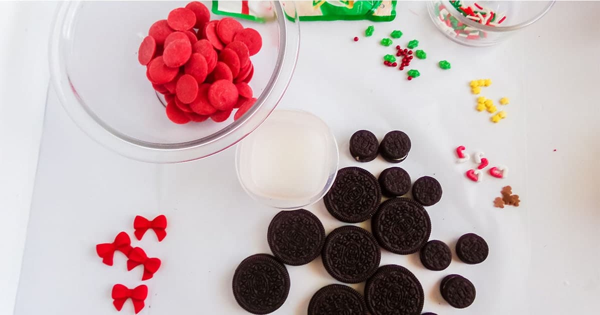 supplies to make mickey mouse christmas cookies