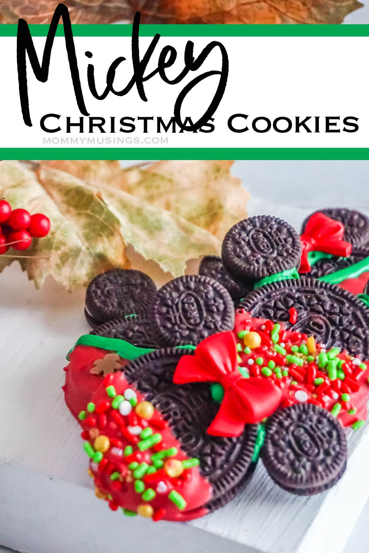 oreo mickey cookies for christmas with text which reads mickey christmas cookies