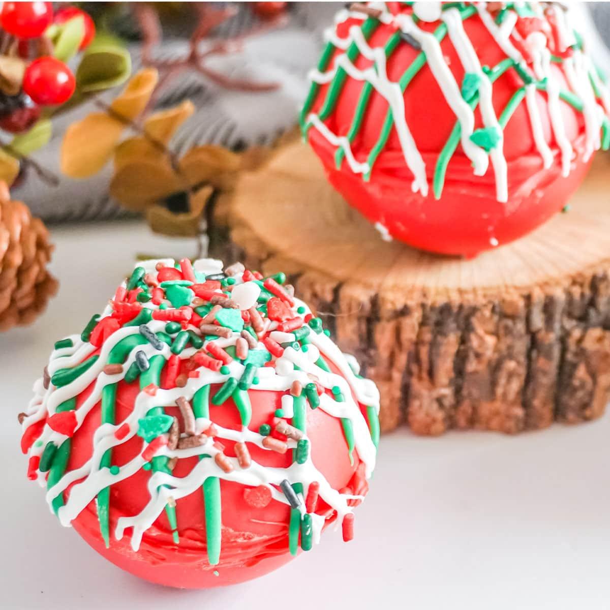 closeup of Christmas Taffy Hot Cocoa Bombs