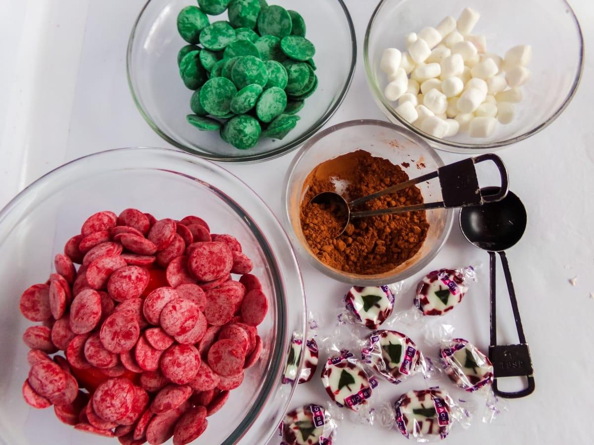 supplies to make Christmas Taffy Hot Cocoa Bombs