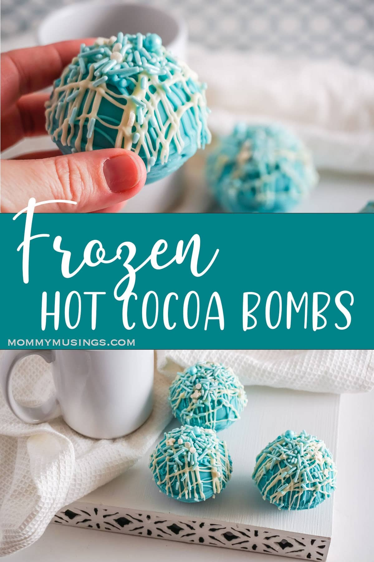 photo collage of Frozen Hot Cocoa Bombs with text which reads frozen hot cocoa bombs