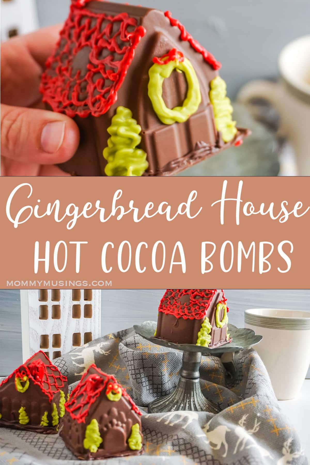 photo collage of gingerbread hot cocoa bombs with text which reads Gingerbread House Hot Cocoa Bombs