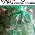easy diy neighbor gift idea with text which reads gift in a jar hot cocoa bombs