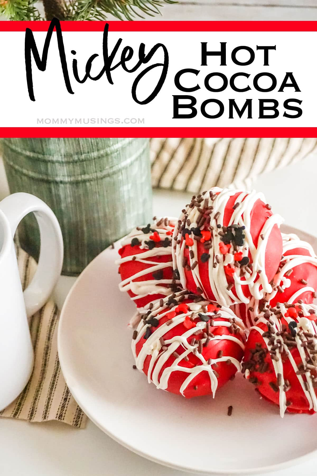 easy mickey mouse hot cocoa bombs with text which reads mickey hot cocoa bombs