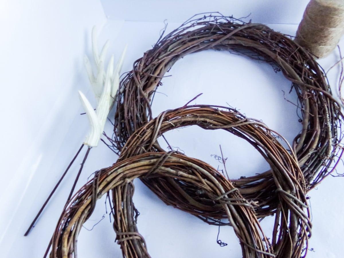 supplies to make a Mickey Reindeer Wreath