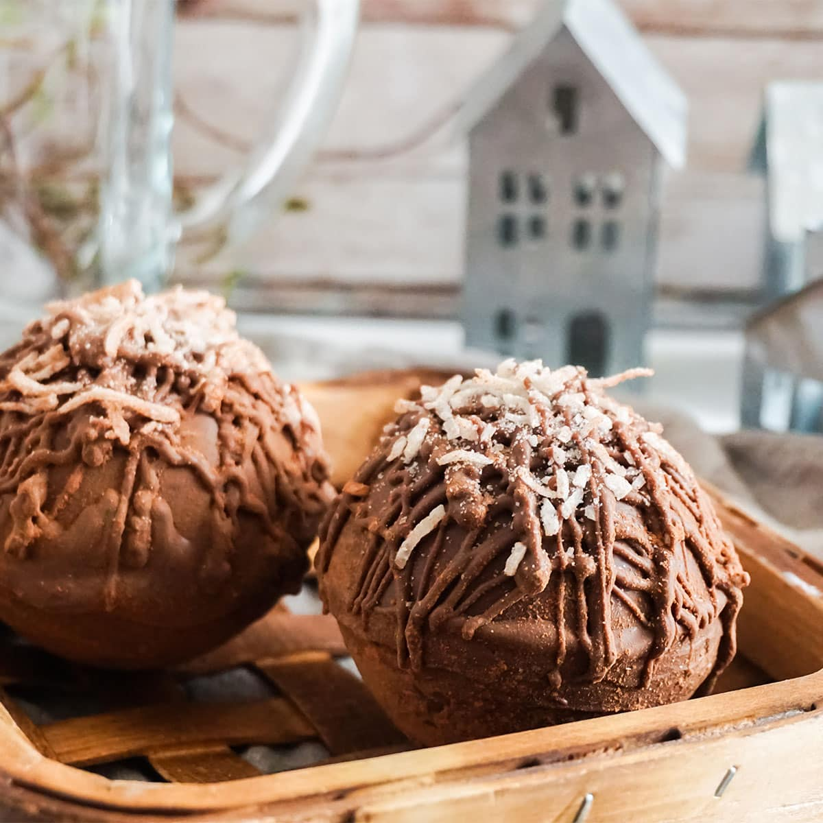 closeup of Mounds Hot Cocoa Bombs