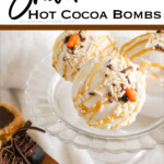 white chocolate hot cocoa bombs with text which reads Snowman Hot Cocoa Bombs