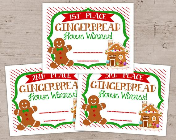 Gingerbread House Awards Certificates Ginger Bread Contest | Etsy