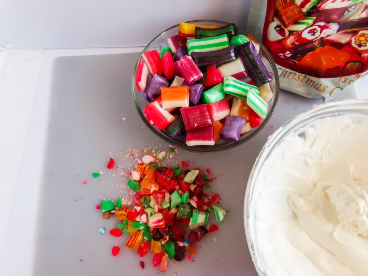 crushed candy to make old fashioned Christmas Candy Hot cocoa bombs