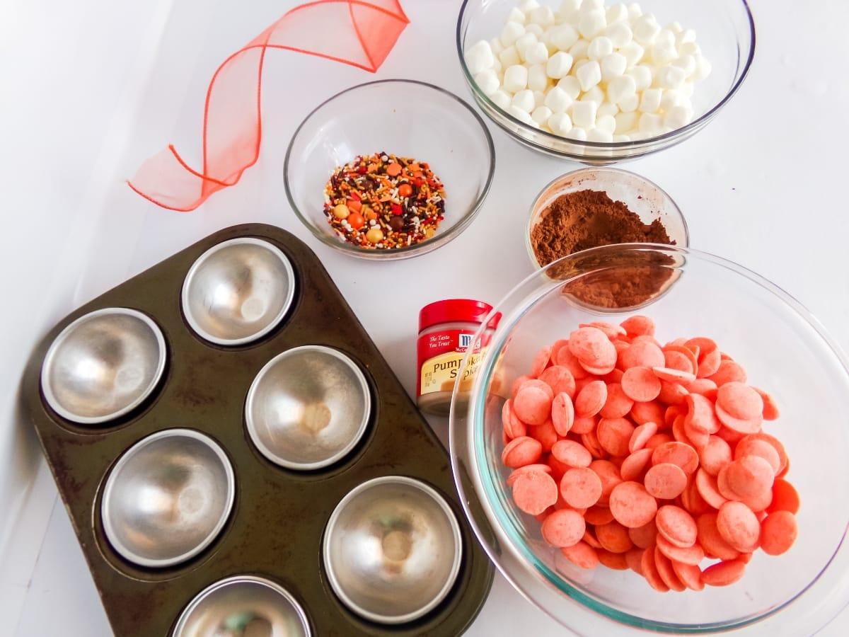 supplies to make pumpkin spice hot cocoa bombs