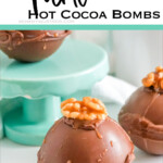 closeup of easy homemade hot cocoa bomb recipe with text which reads turtle hot cocoa bombs