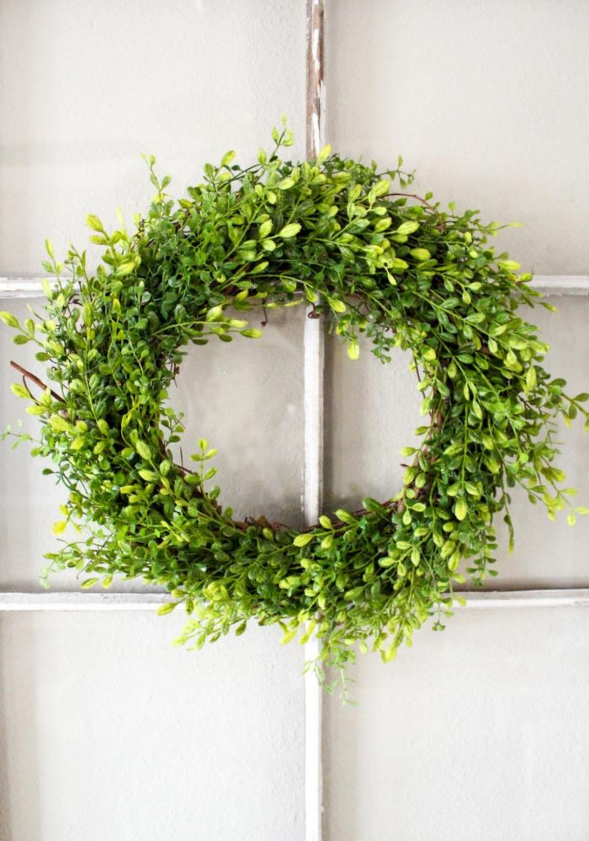 a wreath of green foliage hangs on a white batten wall