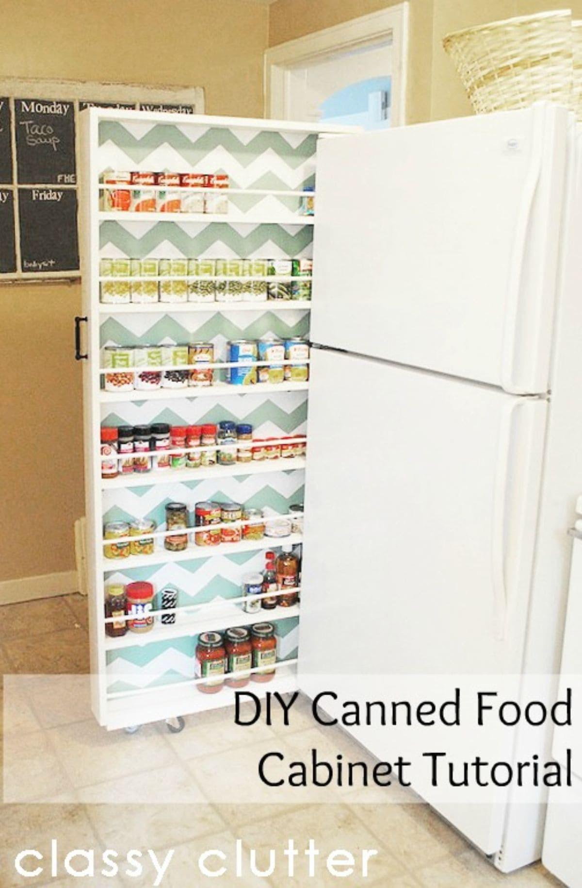 A pull-out shallow cabinet with many shelves containing spices and condiments.