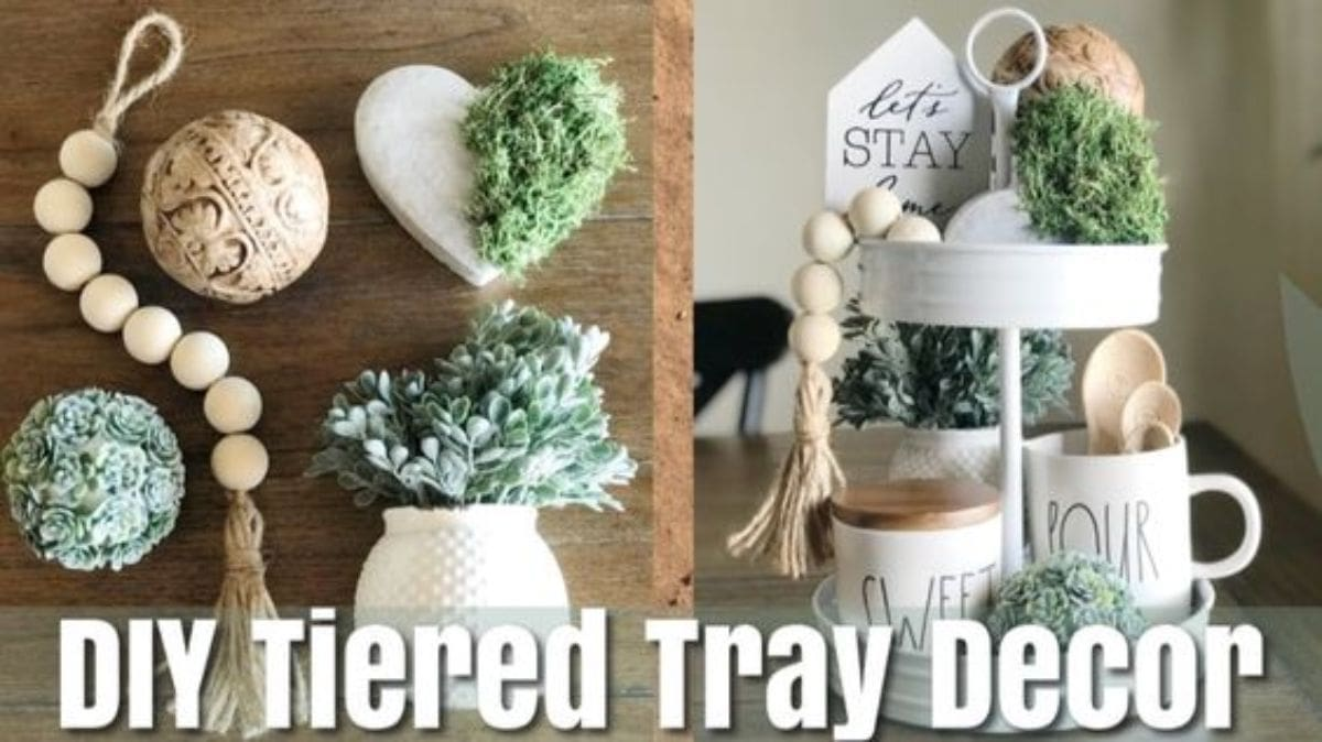 2 pictures show the indidivual parts of a tiered tray: a heart, some moss, a white vase with green and white flowers, som wooden balls on a string, a carved wooden ball and a flower ball. On the right are these objects ut in a tired white tray