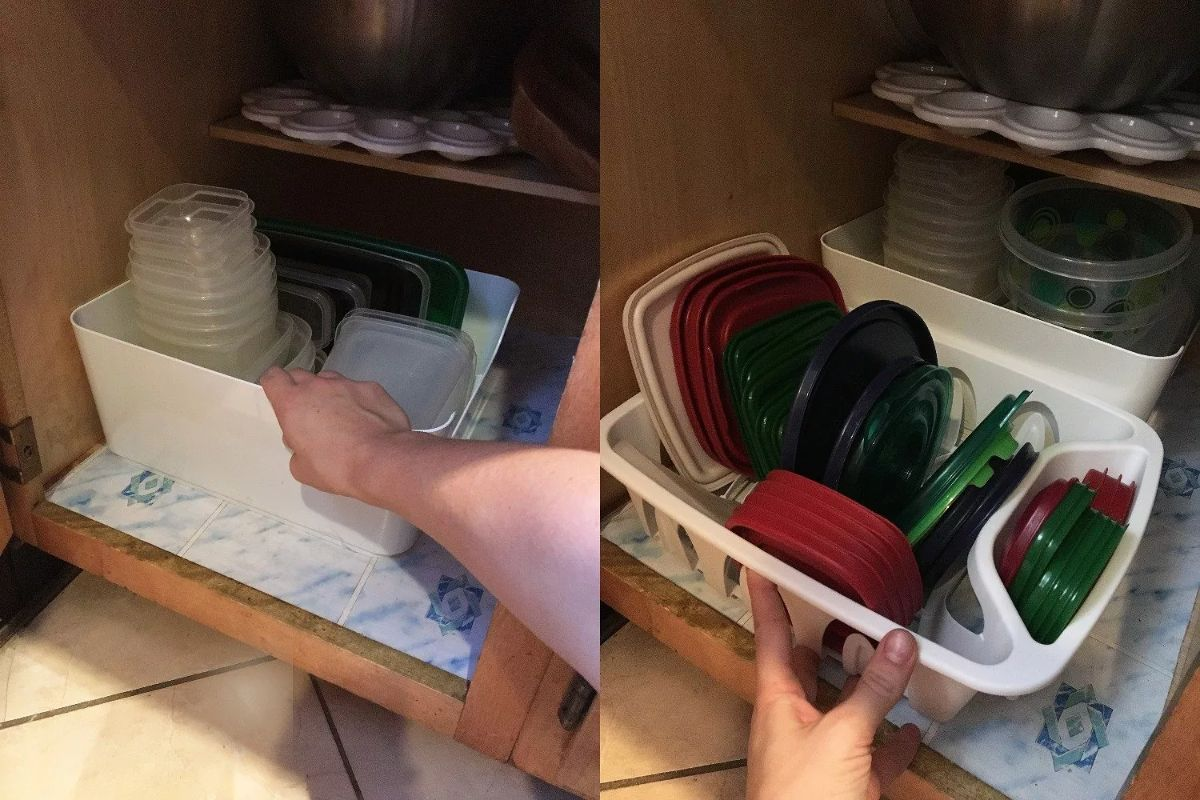 Two pictures of white baskets holding tupperware, sitting inside cupboards