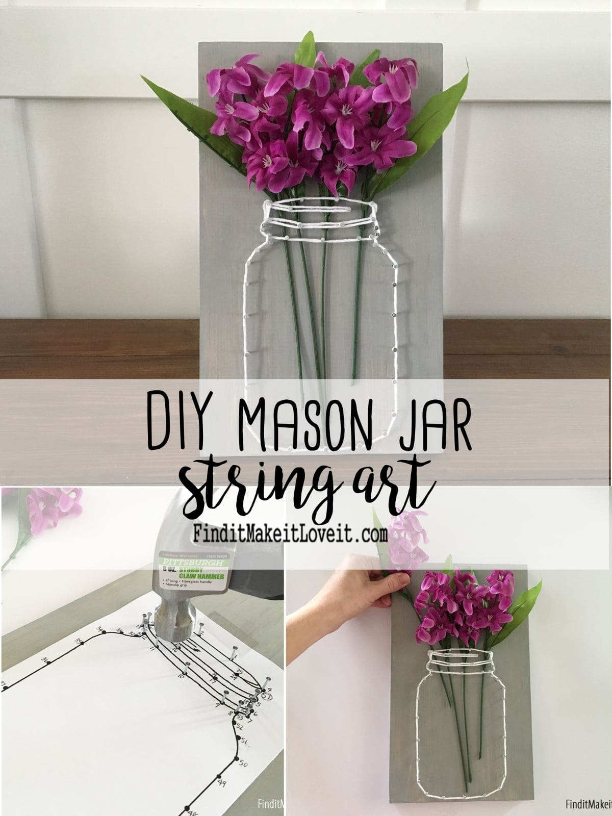On a pale wooden board a mason jar has been plotted out in string with pink flowers coming out of the top