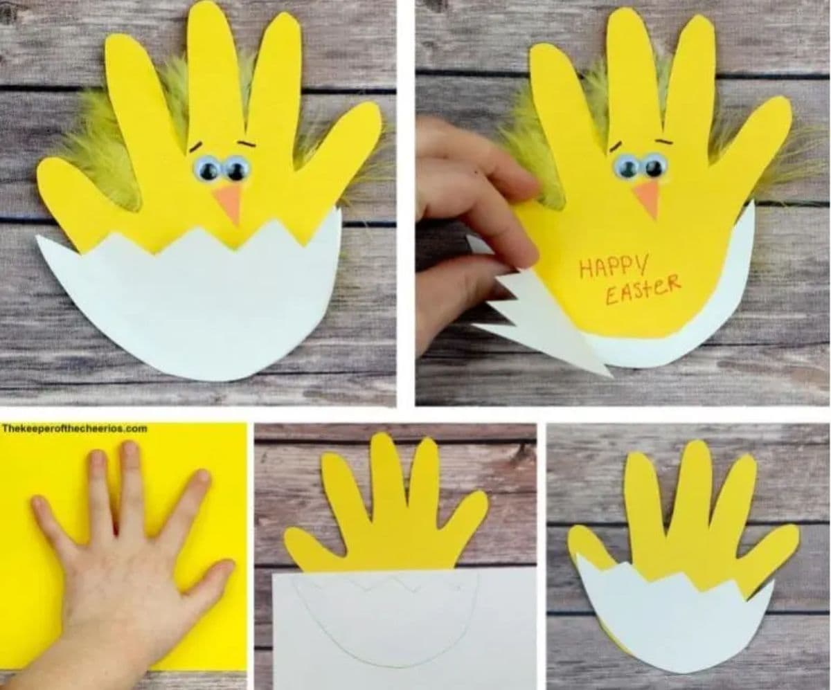 step by step instructions to make a card that looks like a chick out of a handprint on yellow card