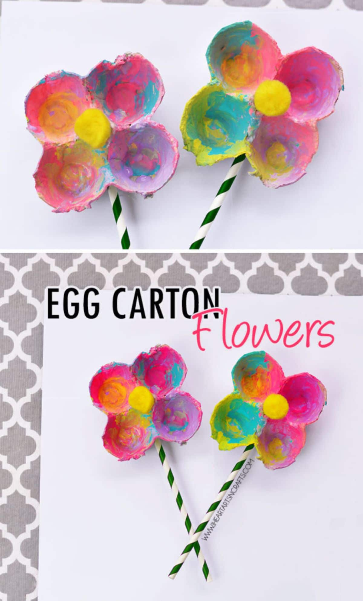 Flowers made out of 4 egg carton dips are painted and stuck onto striped pipe cleaners