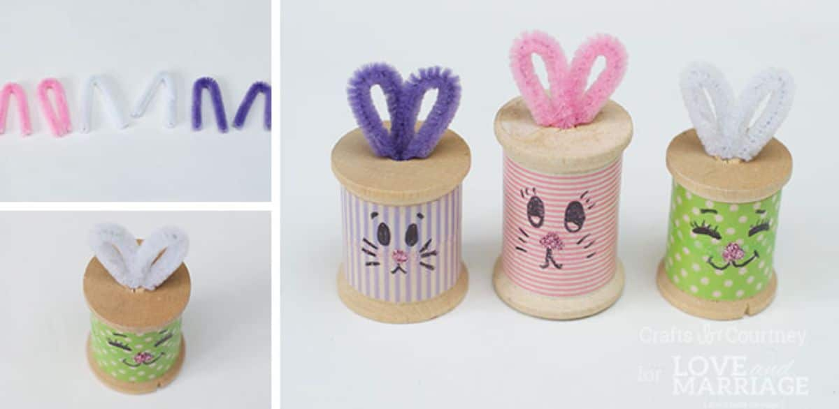 Thread spools with colored paper around them have faces painted on them and pipe cleaner ears to make them look lke rabbits
