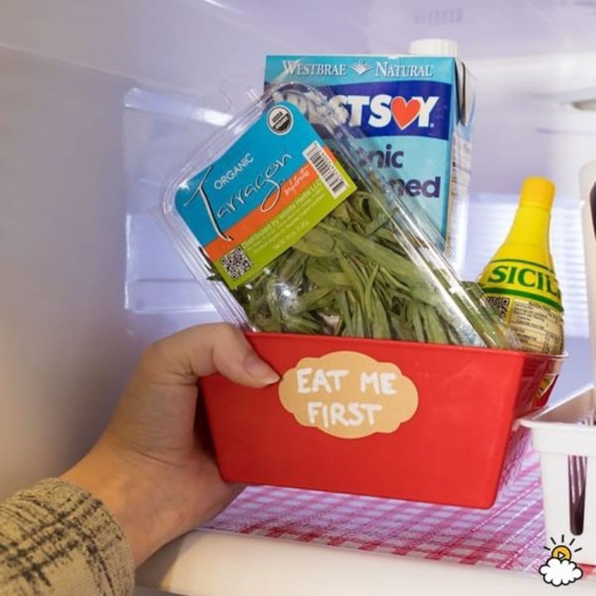 A hand reaches into a fridge and pulls out a red plastic tray with a label on the front and bags of food inside it