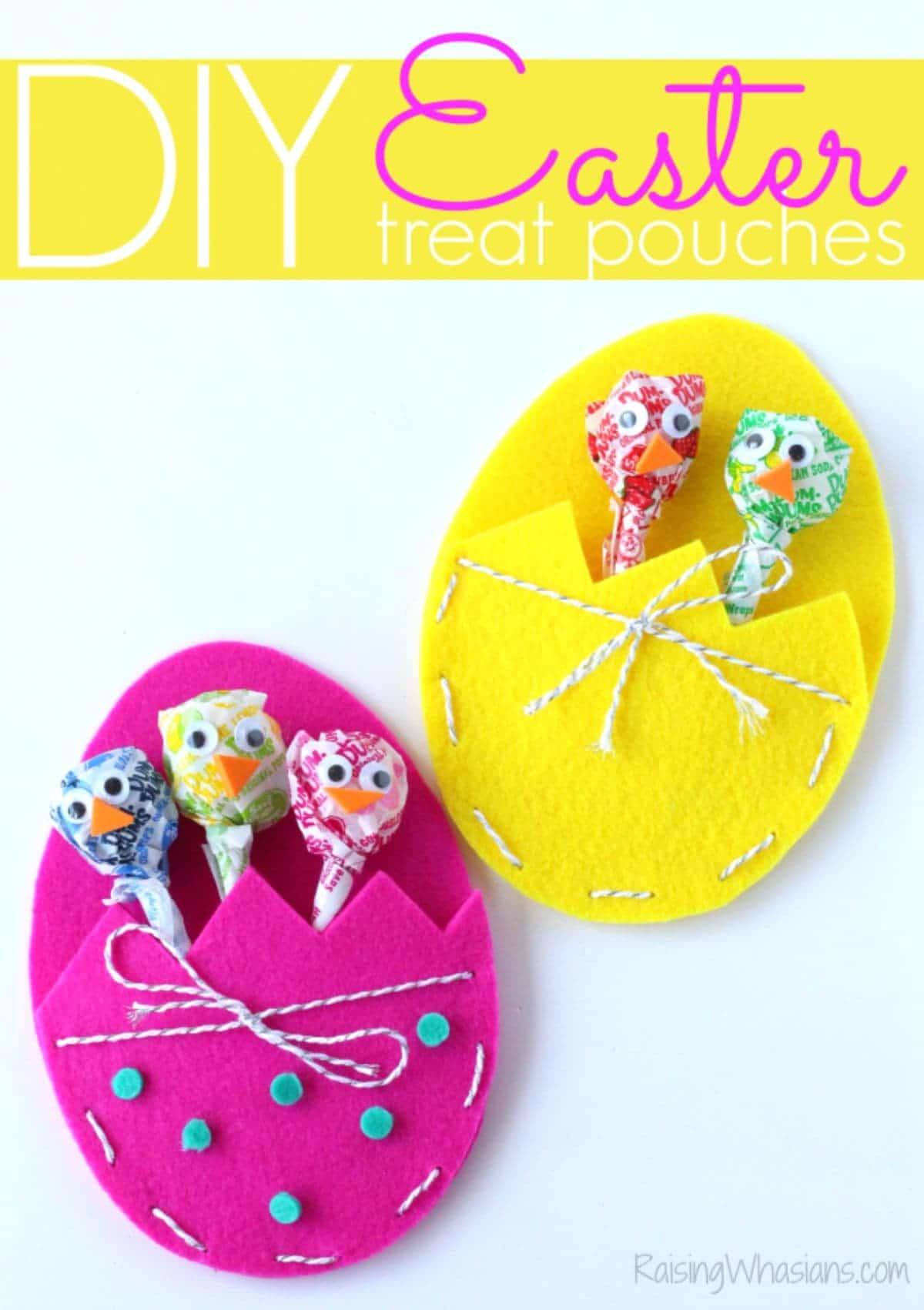 "under a title saying ""DIY Easter treat pouches"" sit a pink and a yellow felt easter egg with pockets in them holding lollies"