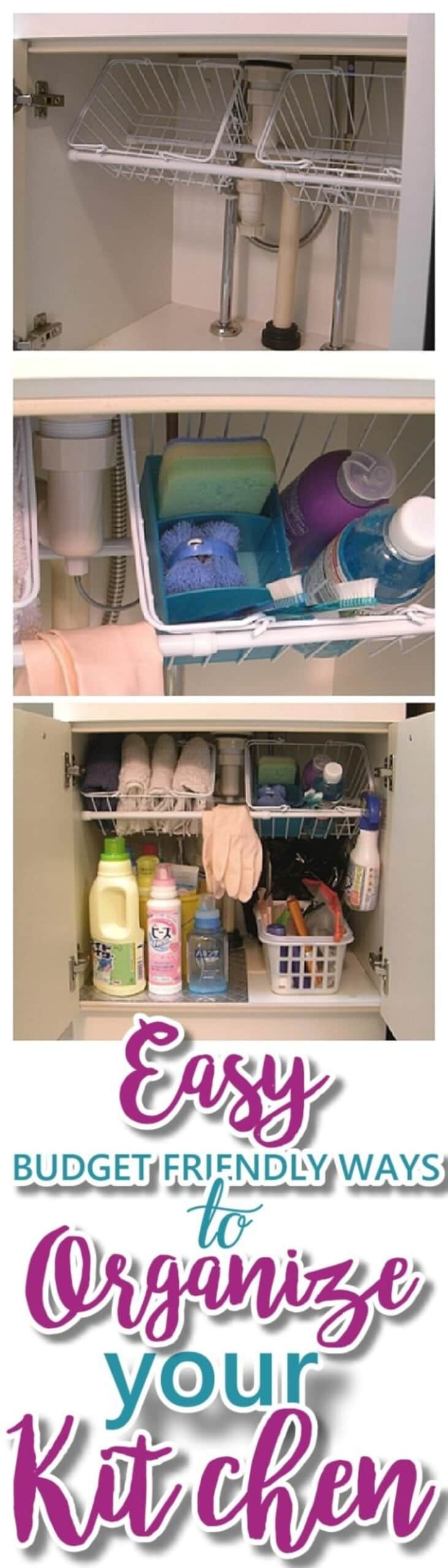 Several views of under sink cabinets with cleaning products organised in them