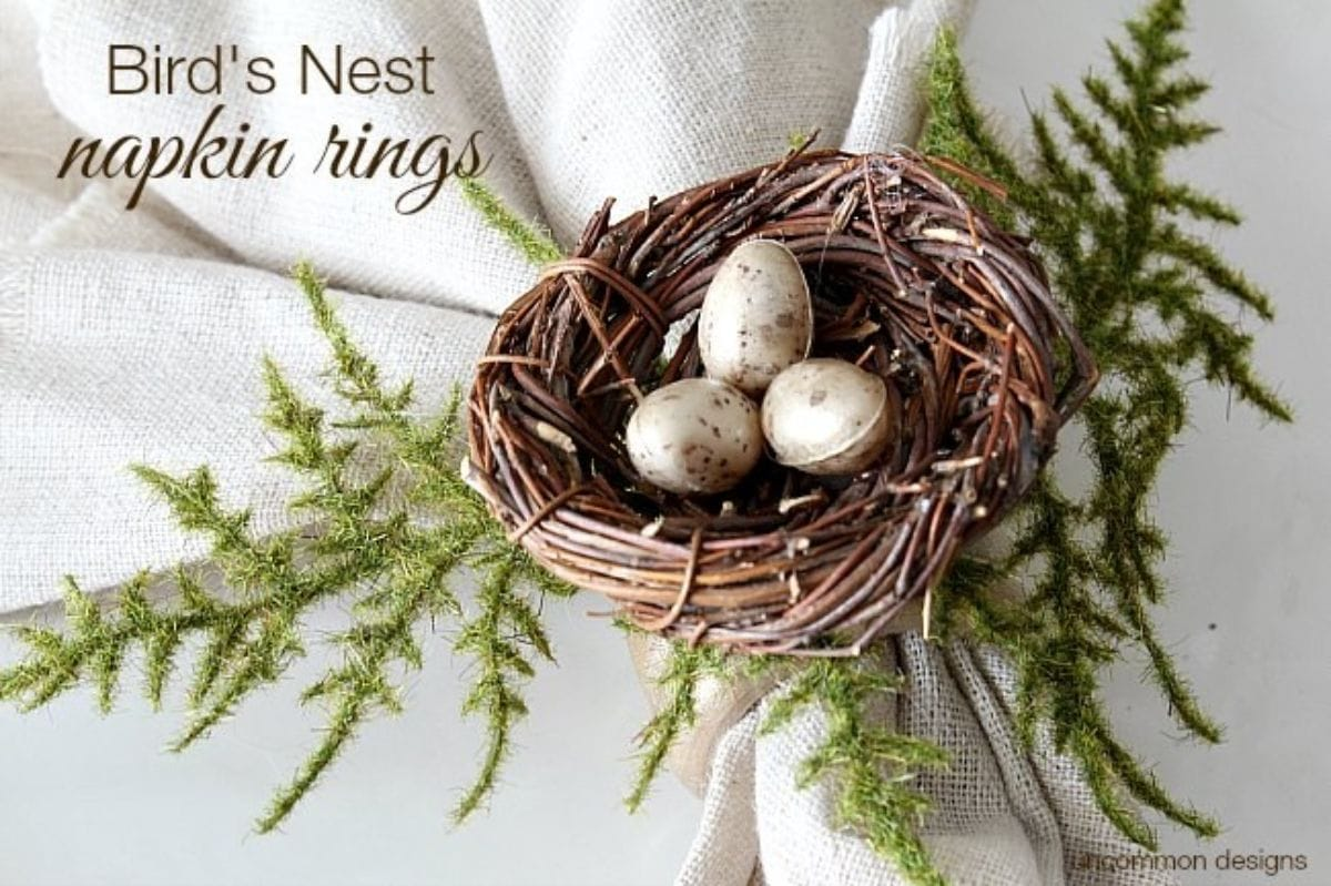 A napkin ring is holding a napkin together, decorated with a birds nest and small eggs
