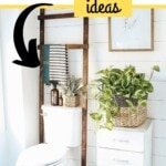 "The text reads ""30 DIY BAthroom Organization ideas"". The photo is of a wooden ladder with towels hanging on it sitting behind a toilet."