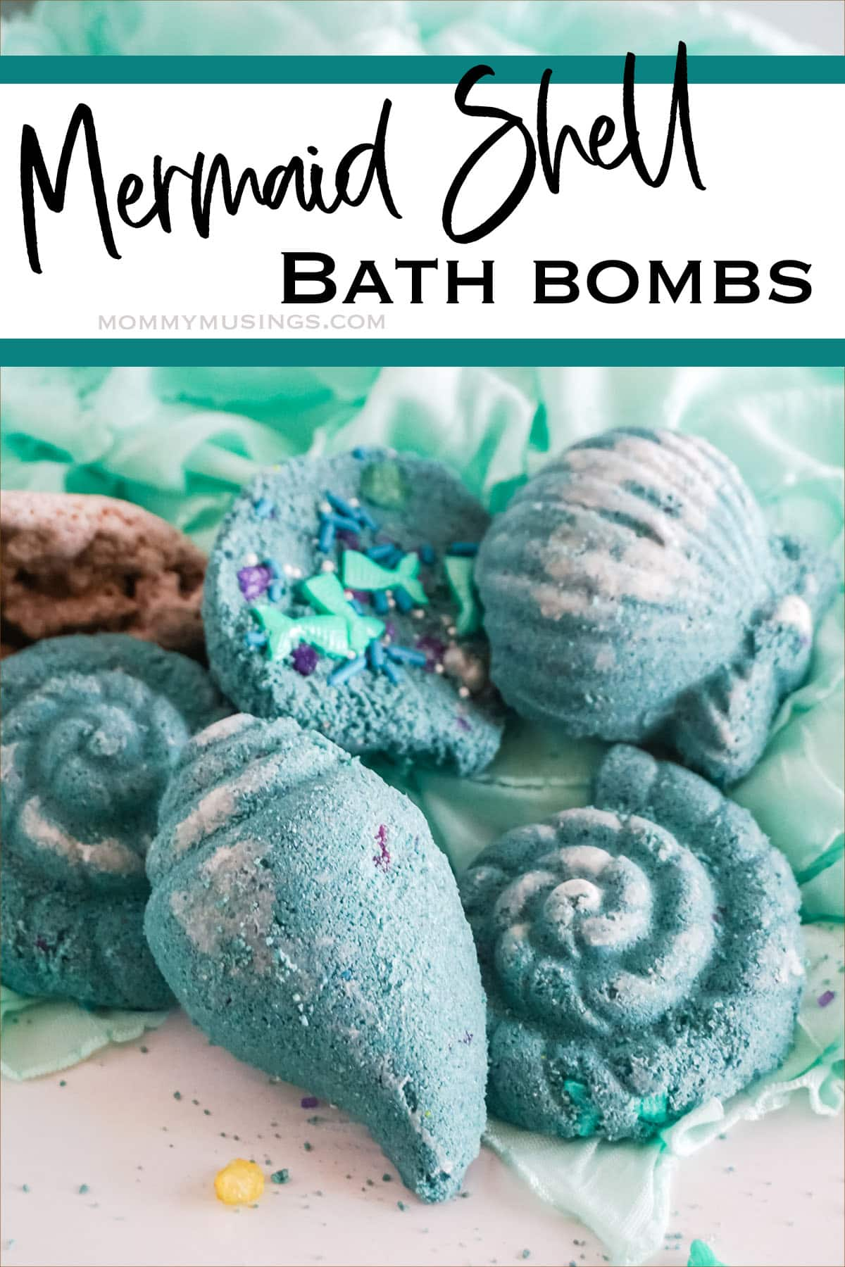 DIY Mermaid Shell Bath Bombs with text which reads mermaid shell bath bombs