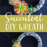 photo collage of DIY Succulent Wreath with text which reads succulent diy wreath
