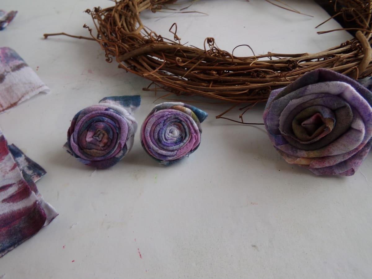 fabric rose wreath