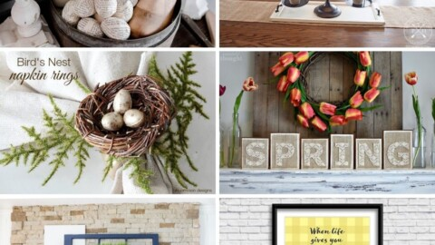 """Image features 6 spring decor ideas: a bowl of eggs wrapped in old book pages, a wooden tray with old fashioned scales holding plant pots on top, a napkin ring decorated with a bird's nest, block wooden letters that spell out """"Spring"""", a decorated mantel with vases on top of it and a yellow picture that says """"When life gives you lemons, make limoncello"""" in black letters"""