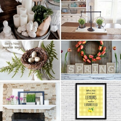 "Image features 6 spring decor ideas: a bowl of eggs wrapped in old book pages, a wooden tray with old fashioned scales holding plant pots on top, a napkin ring decorated with a bird's nest, block wooden letters that spell out ""Spring"", a decorated mantel with vases on top of it and a yellow picture that says ""When life gives you lemons, make limoncello"" in black letters"
