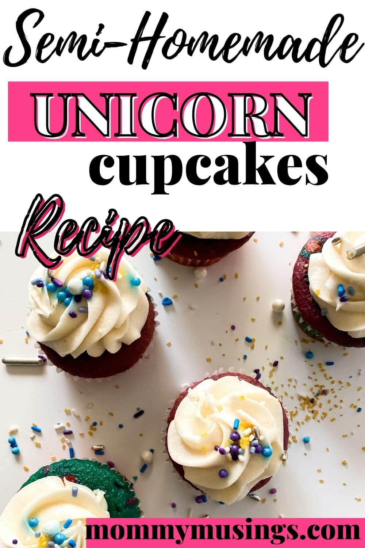Unicorn cupcake on table