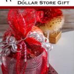 dollar tree hot cocoa bomb neighbor gift with text which reads hot cocoa bomb dollar store gift
