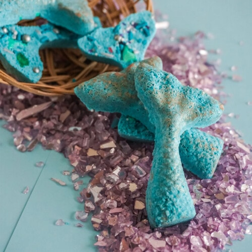closeup of easy DIY Mermaid Bath Bombs