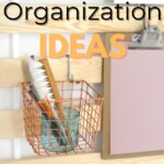 40 DIY Kitchen organization ideas with a photo of a slatted headboard with a basket and a clipboard hanging on it