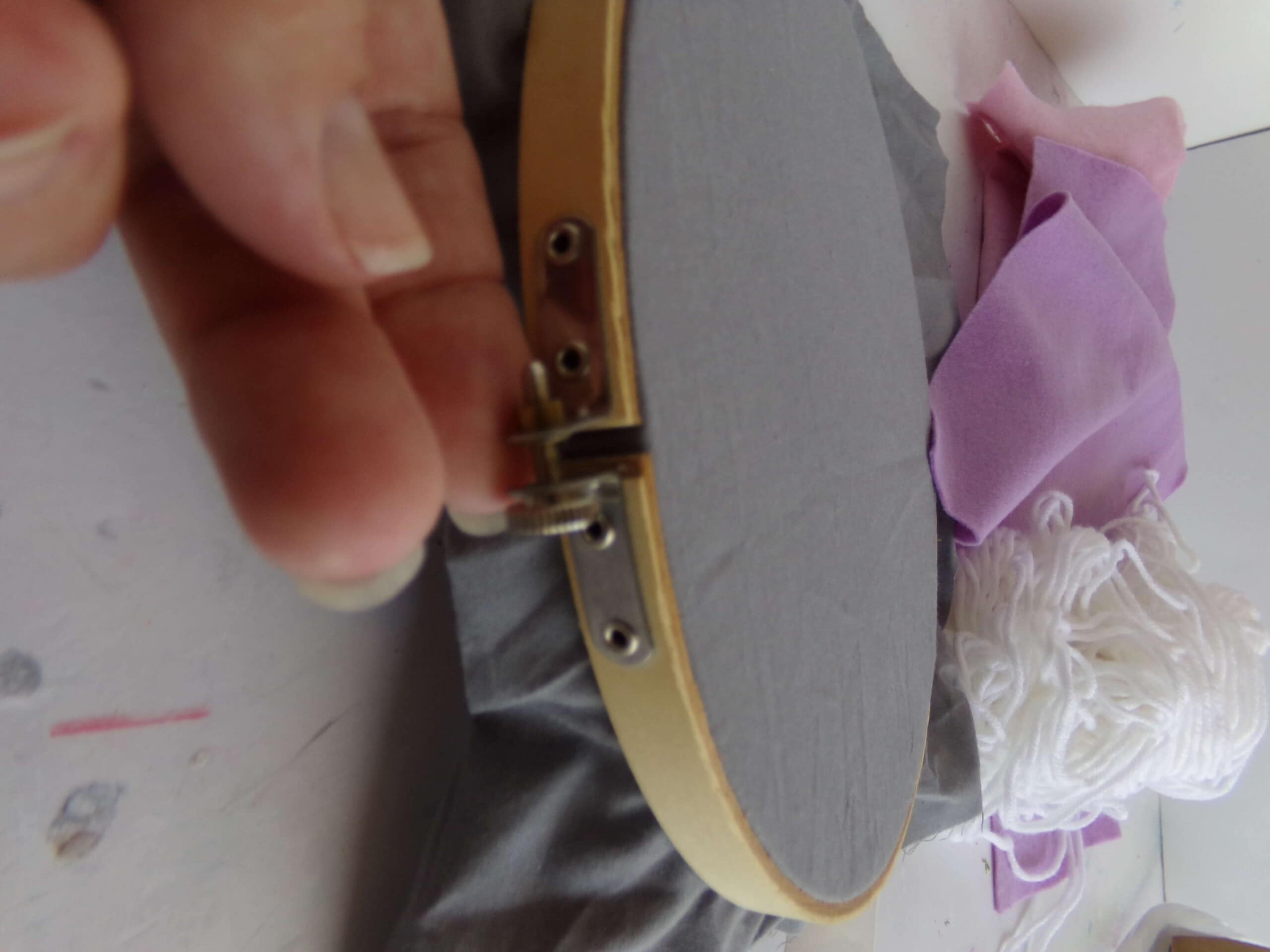 step one in making a faux embroidery hoop wreath