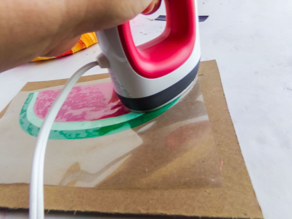 how to use a heat press to make a summer wreath with a watermelon on it