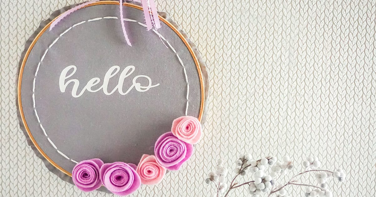 faux embroidery hoop spring wreath