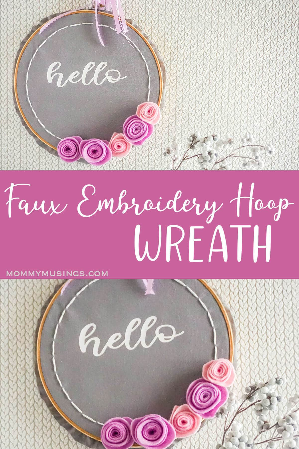 photo collage of easy embroidery hoop wreath craft for spring with text which reads faux embroidery hoop wreath
