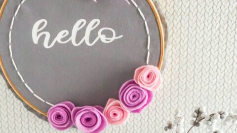 faux embroidery hoop wreath