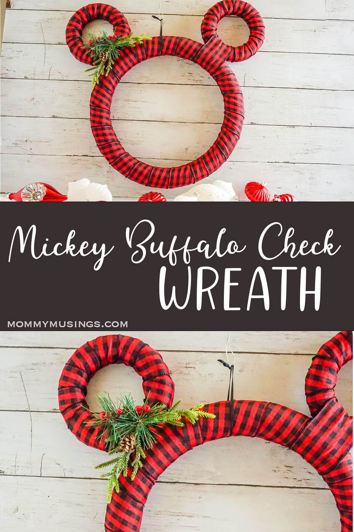 photo collage of easy wrapped ribbon wreath with mickey ears with text which reads mickey buffalo check wreath