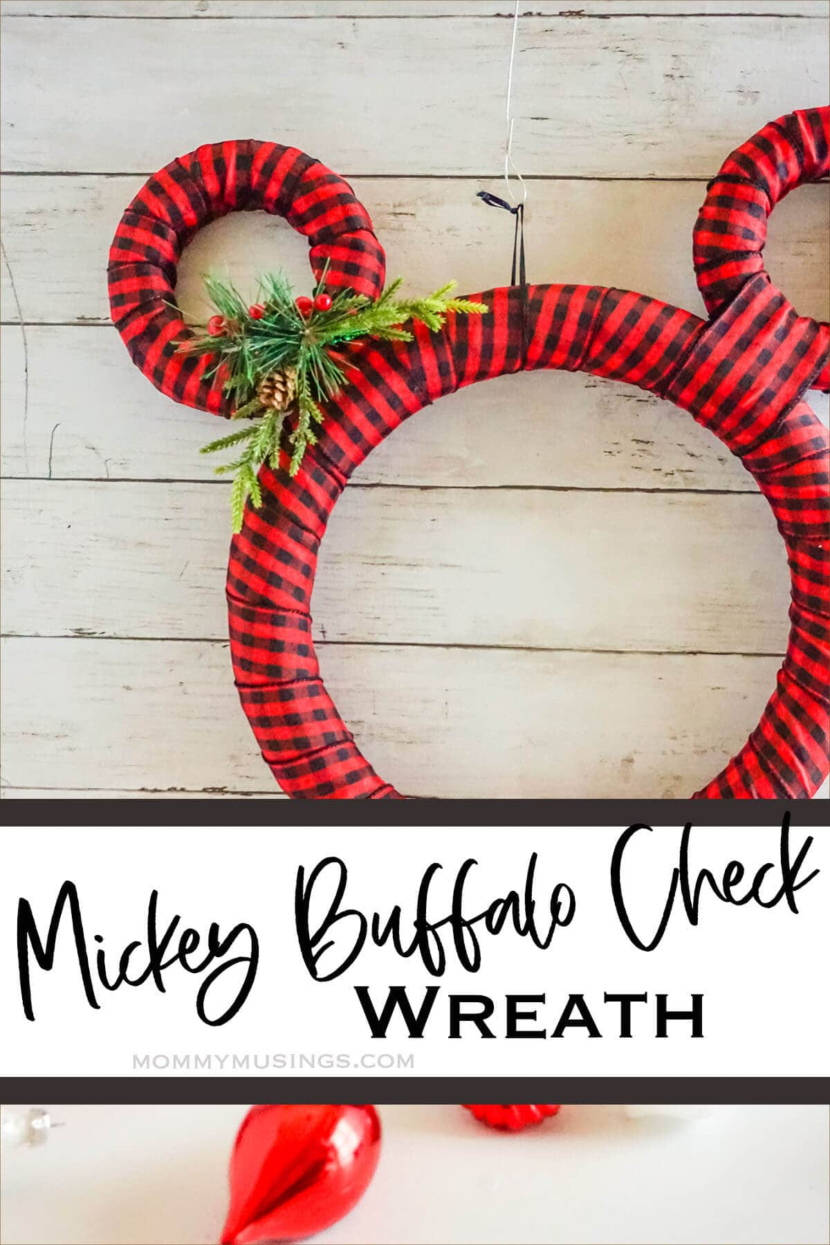 easy disney inspired winter wreath with text which reads mickey buffalo check wreath