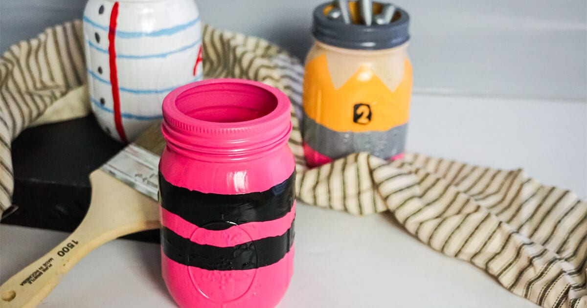 homeschool craft pencil paper and crayon painted jar